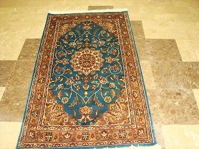SEA WATER FLORAL HAND KNOTTED RUG WOOL SILK CARPET 5x3