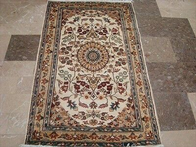 WOW IVORY MEDALLION FLOWERS HAND KNOTTED RUG WOOL SILK CARPET 5x3 RARE