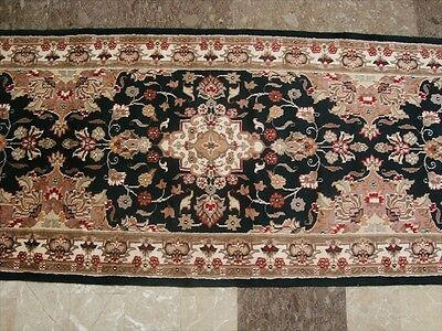 HOT BLACK FLORAL KASHAN SOFT RUNNER HALL WAY HAND KNOTTED RUG 10.10x2.7 CARPET