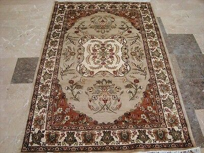 AWESOME IVOR FLOWERS MEDALLION LOVELY HAND KNOTTED RUG WOOL SILK CARPET 6x4