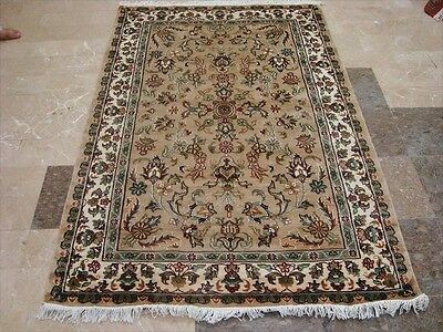 Exclusive Ivor Flowers Medallion Lovely Hand Knotted Rug Wool Silk Carpet 6X4