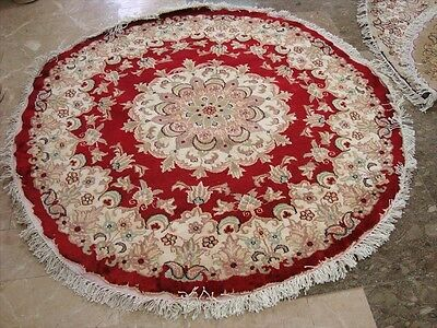 ROUND RED LOVELY MEDALLION FLORAL HAND KNOTTED RUG WOOL SILK CARPET 4x4 FB-2322