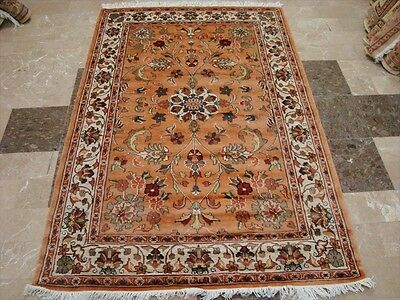 Awesome Floral Medallion Rectangle Area Rug Hand Knotted Wool Silk Carpet 4x6