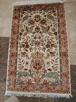 WOW TREE OF LIFE PEACE DEER HAND KNOTTED RUG WOOL SILK CARPET 4x2.6 FB-2422
