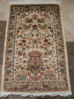 LOV TREE OF LIFE PEACE DEER BIRD HAND KNOTTED RUG WOOL SILK CARPET 4x2.6 FB-2428