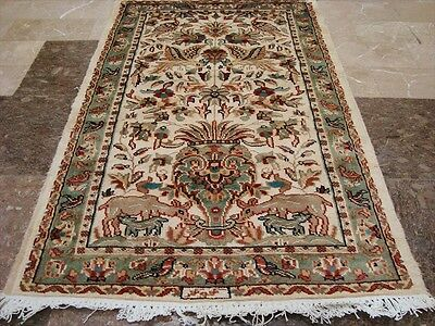 VAS TREE OF LIFE PEACE DEER BIRD HAND KNOTTED RUG WOOL SILK CARPET 4x2.6 FB-2429