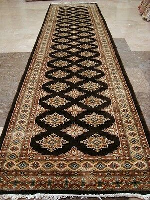 CHOC BROWN RARE JALDAR HAND KNOTTED RUG RUNNER WOOL SILK CARPET 10.3x2.7 FB-2449