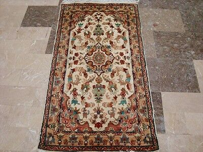 IVORY WOW MEDALLION FLOWERS HAND KNOTTED RUG WOOL SILK CARPET 5x3 FB-2435