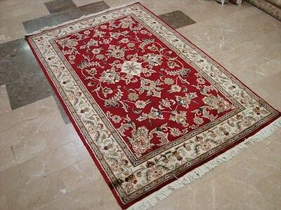 WOW RED LOVE MEDALLION FLOWERS HAND KNOTTED RUG WOOL SILK CARPET 6x4 FB-2251