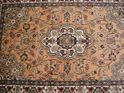 EXCLUSIVE WOW FLORAL MEDALLION HAND KNOTTED RUG WOOL SILK CARPET 6x4 FB-2248