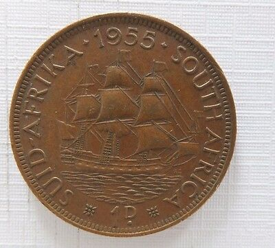 1955 South Africa 1d Penny Coin B7