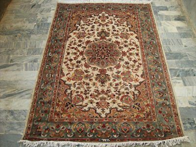 Suraj Flowral Hand Knotted Rug Wool Silk Carpet 4X5  Fb-1253