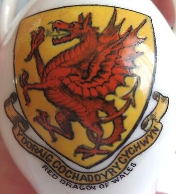Antique Goss Welsh Crested China Red Dragon of Wales and Penmaennawr