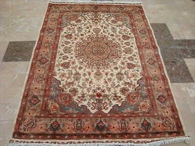 MEDALLION FLOWERS IVORY HAND KNOTTED RUG WOOL SILK CARPET EXCLUSIVE 6x4 FB-1642