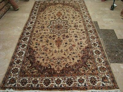 Beige Tan Flowral Hand Knotted Rug Carpet Silk Wool 9.8X5.1 Rare Size Exclusive