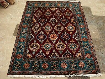 MEDALLION FLOWERS IVORY HAND KNOTTED RUG WOOL SILK CARPET EXCLUSIVE 6x4