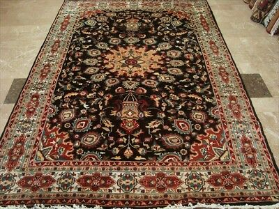 CHOCOLATE BROWN HAND KNOTTED RUG WOOL SILK CARPET 9X6 fb-4766