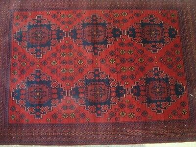 EXCLUSIVE KHAL MUHAMADI FINE AFGHAN HAND KNOTTED WOOL RUG CARPET 4.10 x 3.4