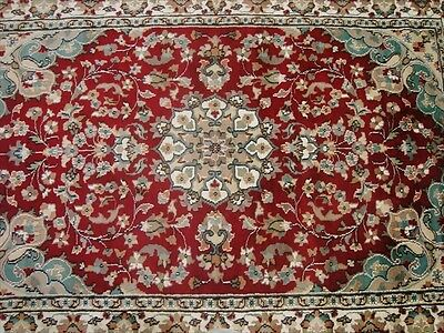Ruby Red Wow Ivory Touch Flower Lovely Hand Knotted Rug Wool Silk Carpet 6X4