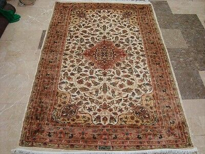 LIVE IVORY MEDALLION FLOWERS HAND KNOTTED RUG WOOL SILK CARPET 6x4 FB-1636