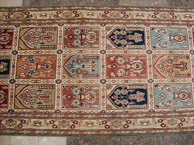 RAR BAKHTIARI BLOCK FLOWERS SOFT RUNNER HALL WAY HAND KNOTTED RUG 8.1x2.6 CARPET