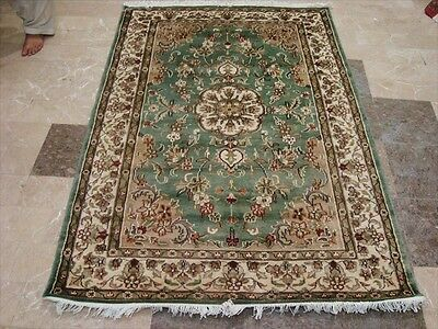 Wow Grey Ivory Touch Flower Lovely Hand Knotted Rug Wool Silk Carpet 6X4