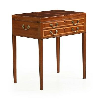Fine English George III Inlaid Mahogany Antique Dressing Table c. 1760-80