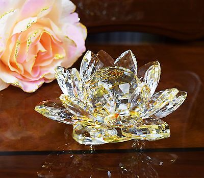 Large Golden Crystal Lotus Flower Ornament With Gift Box Home Decor Wedding Gift