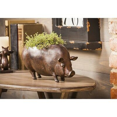 """French Country Farmhouse Cottage - Resin Farm Pig Planter Bronze 14"""""""