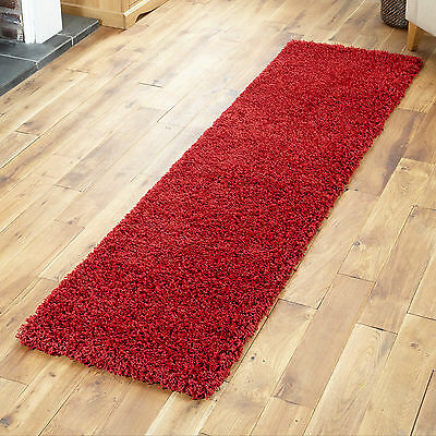 LARGE 5CM THICK PILE RED MODERN QUALITY 60x230cm SHAGGY RUGS / RUNNERS HALLWAY