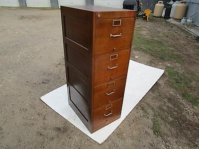 """ Scarce Legal Size"" Globe Mahogany 4 Drawer Vintage Filing Cabinet Retail Ready"
