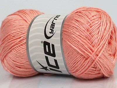 Lot of 4 x 100gr Skeins Ice Yarns NATURAL COTTON (100% Cotton) Wool Light Salmon