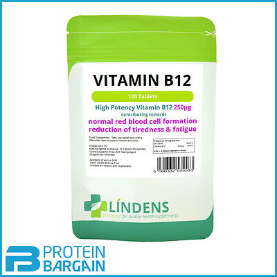 Vitamin B12 250mcg x 120 Tablets; One A Day; Tiredness & Fatigue; Lindens