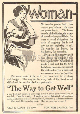 Antique WOMAN Funny Housewife Feminist VACATION Fortress Monroe VA PSYCHOLOGY Ad