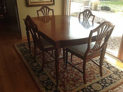 Antique Walnut Dinig Table And 5 Reupholstered Nuetral Chairs Beautiful Detail