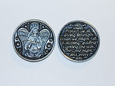 GUARDIAN ANGEL Token Christian Religious Pewter Coin