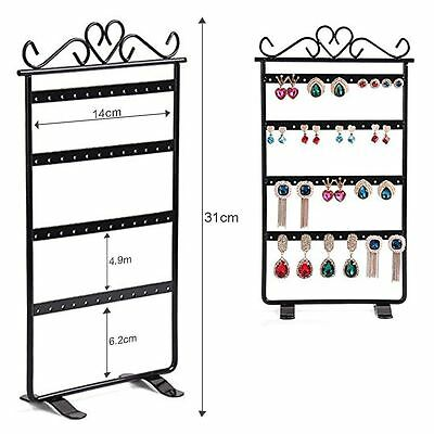Black 48 Holes Earrings Jewelry Display Rack Metal Stand Holder Storage Case NEW
