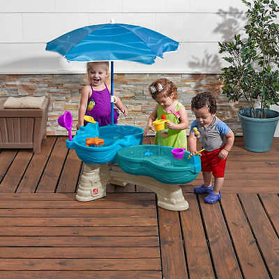 Step2 Spill & Splash Seaway Water Table 11 Accessory Set & Umbrella Summer Toys