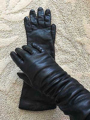 VTG BAMBERGERS BLACK LEATHER ELBOW GLOVES w/ WOOL BLEND LINING ITALY 8