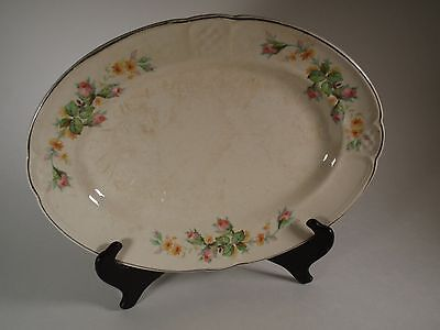 Vintage Oval China Meat Vegetable Serving Dish Sally Paden City Pottery Rosebuds