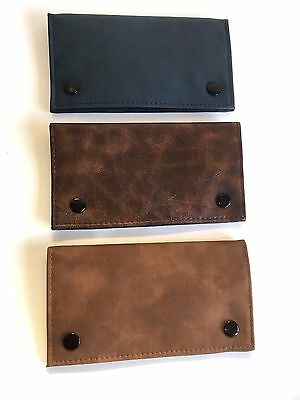 LARGE Tobacco Pouch Soft Leather with Booklet Holder and Zipper VERSATILE