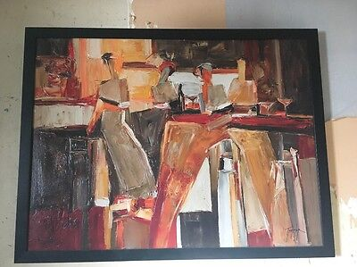Large Ikea Abstract Oil Painting On Canvas With Black Wooden Frame
