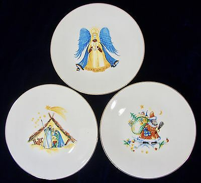 Hutschenreuther Germany Gold Trim Dinner Christmas Plates – Set of 3