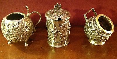 Group of Three Antique Indian India Silver Condiment Canisters