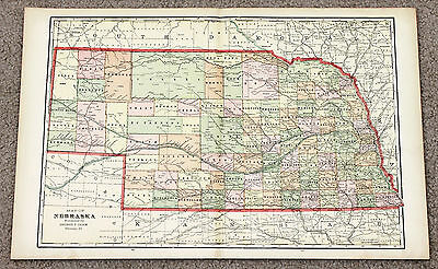 1906 Nebraska Map Railroads Counties Townships Large Double Page Color Omaha