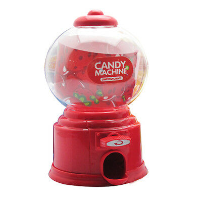 Mini Candy Machine Bubble Distributor of Gum Coin Bank Money Box Red Kids Gift