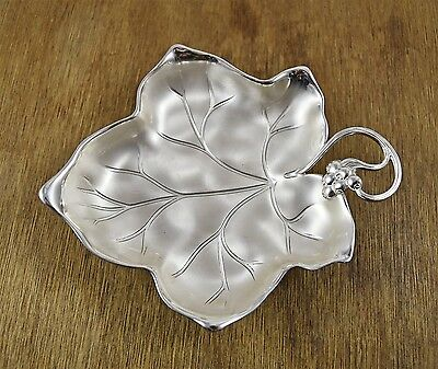 Vintage Good Condition WMF Silver Plated Frosted Leaf Dish Bon Bon Tray
