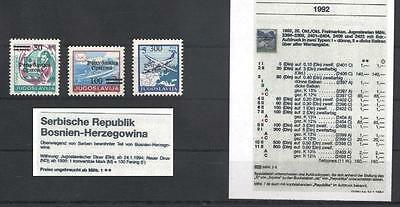 (939136) Aircraft, Ship, Bosnia and Herz. - stamps marked in red on cat.page -