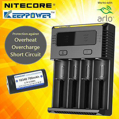 Netgear Arlo Camera Rechargeable Battery & Charger Kit by Nitecore i4/ KeepPower