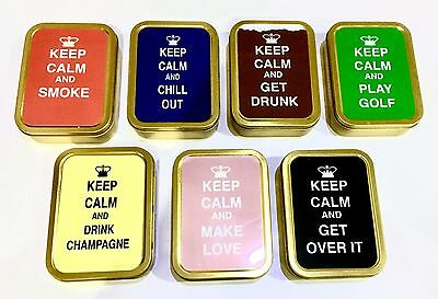 2 Oz Tobacco Tin Keep Calm Pill Tin,bait Tin,sewing Tin,baccy Tin, Stash Can
